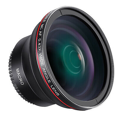Neewer 58mm 0.43X HD Wide Angle Lens with Macro Portion for Canon Rebel T5i T4i