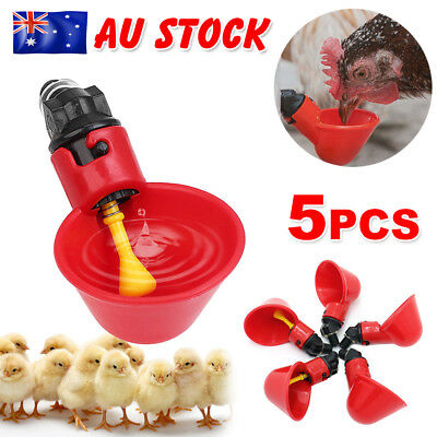 5pcs Automatic Cups Water Feeder Drinker Chicken Waterer For Poultry Chook Bird