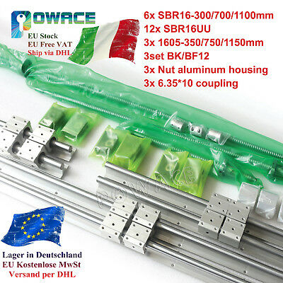 【IT】SBR16 Linear Guide Rail Kit&Ballscrew SFU1605-350/650/1150mm&BK/BF12&SBR16UU