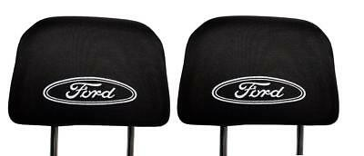 Set of 2x Black Head Rest Cover fit FORD Car Van Pick-up Two Headrest covers pad