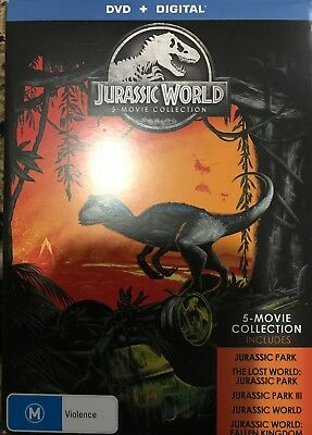 """""""THE JURASSIC WORLD 5 MOVIE COLLECTION"""" DVD, 5 Disc Set - Regions[4][2] LIKE NEW"""