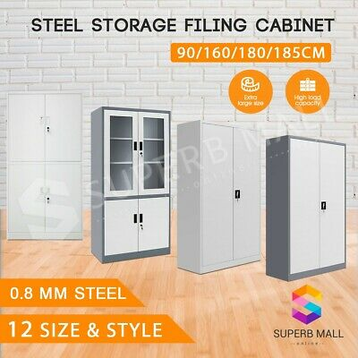New Metal Steel Locker Cabinet Steel Stationary Cupboard Filing File Storage AU