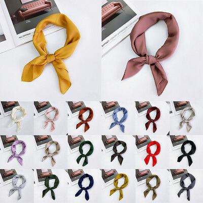 Ladies Small Vintage Head Neck Silk Feel Satin Women Square Scarf Hair Tie Band