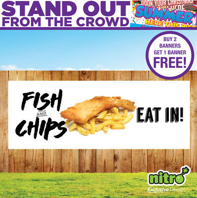 Fish and Chips (Eat In) Served Here PVC Banner Ready 2 Hang