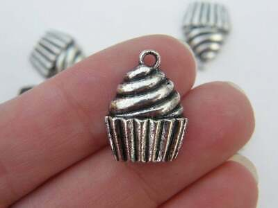 2 Cupcake Stand Charms Antique Silver Tone 3D Dessert Platter SC5148