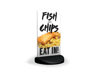 Fish and Chips (Eat In) Eco Flex 2 Pavement Shop Sign Chippy Chip Shop