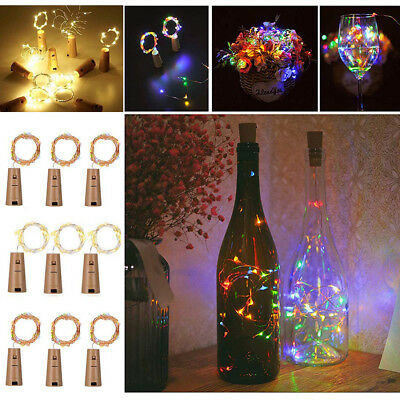 RGB Wine Bottles String Lights with Cork 20 LED Waterproof Copper Wire Battery