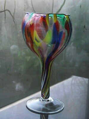 Milford Glass Table Top Candle Friendship Globe Mouth Blown Tealight Multi