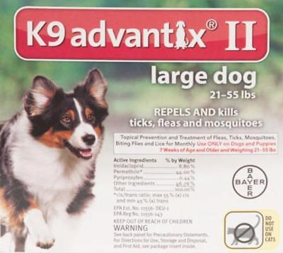K9 Advantix II for Large Dogs 21-55 lbs. Six Month Supply, 6 Doses, 6 Pack