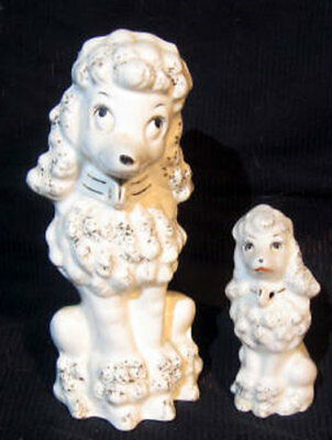 2 Vintage White Poodle Dog Figurines Mom And Puppy Japan