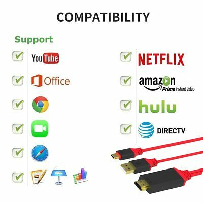 1.8m Type-C USB-C to HDMI HDTV 4K Cable Adapter For Samsung Note 8 S8 S9 Plus