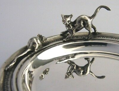 SUPER SOLID STERLING SILVER CAT & MOUSE DISH ANIMAL c1980 60g