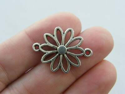 SC7399 12 Flower Connector Charms Antique Silver Tone