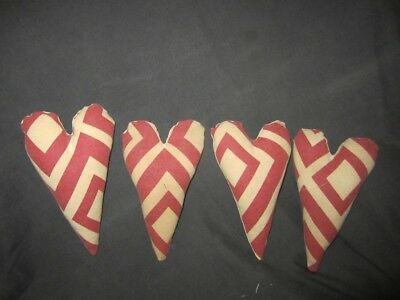 Primitive  Heart bowl fillers -repurposed pillow cover - barn red - set of 4