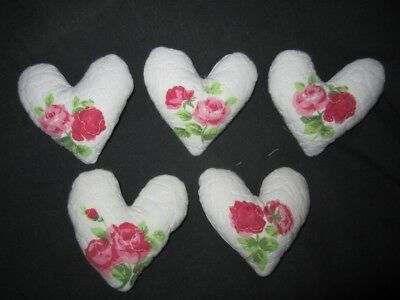 Primitive  Valentine Heart bowl fillers- white quilt with flowers- set of 5
