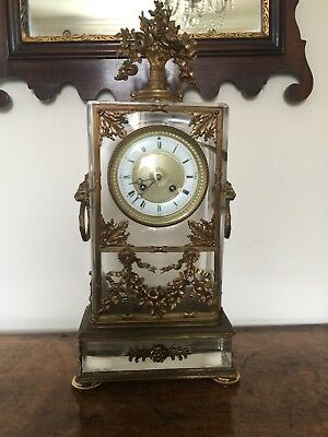 Rare 19th Century French Glass Mantle Clock Crystal Palace 1851