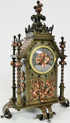 Rare Antique French 8 Day Unusual Bronze Copper Gothic Arts Crafts Mantel Clock