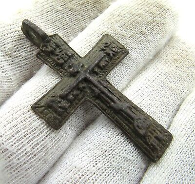 Authentic Late Medieval Era Bronze Cross Pendant - Wearable - J15