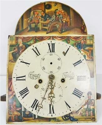 Antique Scottish Painted Dial 8 Day Striking Grandfather Longcase Clock Movement