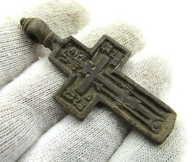 Authentic Late Medieval Era Bronze Cross Pendant - Wearable - J16