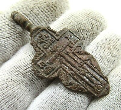 Authentic Late Medieval Era Bronze Cross Pendant - Wearable - J17