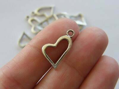 SC5786 BULK 50 Love Heart Charms Antique Silver Tone 2 Sided 3D