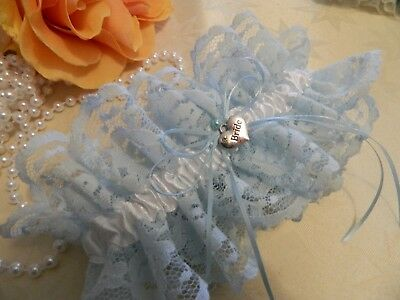 Wedding Garter Light Blue Lace & White Satin - Heart Charm -Free Pouch