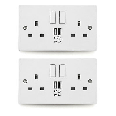 13 Amp Wall Socket Double USB Plug Power Source UK Charger 2 Port Electricity