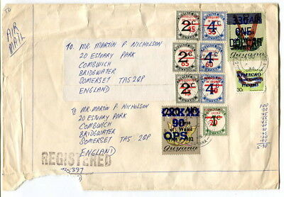 Guyana 1986 multi-stamped $5.90 registered Air Mail cover to England