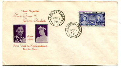 Newfoundland 1939 Royal Visit 5cents on Official illustrated first day cover