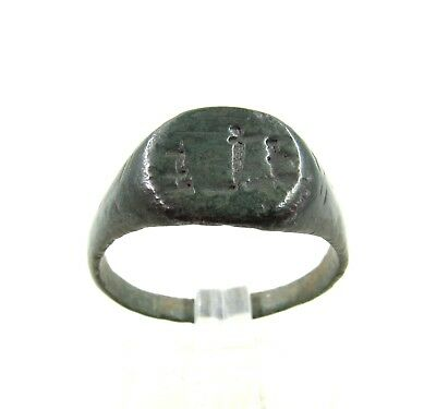 Authentic Medieval Viking Ring W/ Runic Motif - Wearable - J25