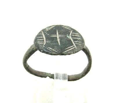 Authentic Medieval Crusaders Era Bronze Ring W/ Cross - J26
