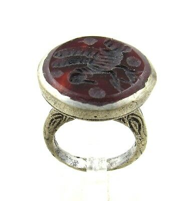 Authentic Post Medieval Silver Ring W/ Carnelian Bird - Wearable - J27