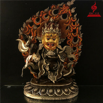 "14"" China old copper Tibetan Coloured painting Buddhism Mahakala Buddha statue"