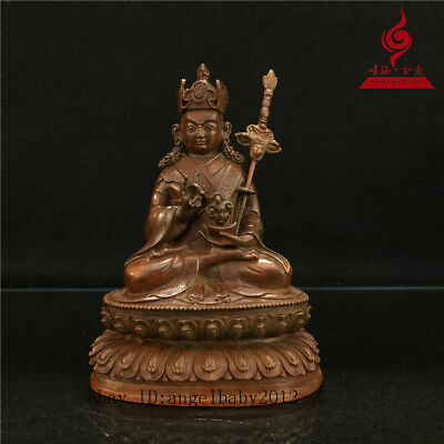 "6"" China Tibetan old antique copper Buddhism Padmasambhava Buddha statue"