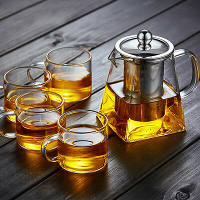 Stainless Steel With Infuser Glass Teapot Loose Leaf Tea Heat-resistant Stovetop