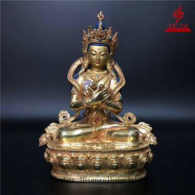 China Tibet old copper gilt inlay gemstone Turquoise Buddha Vajradhara statue