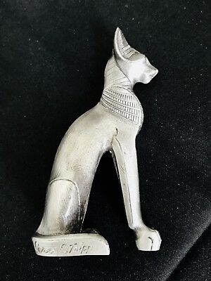 "LARGE 3"" Solid Pewter Silver Ancient Egyptian Bastet Cat Goddess Figurine Statue"