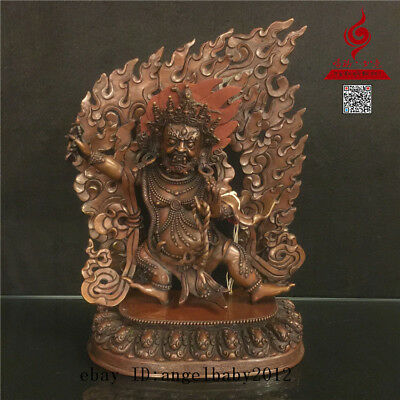 "12"" China Tibet old antique Nepal copper bronze Buddhism Vajrapani Buddha statue"