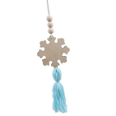 Snowflake Shape Wooden Beads Tassel Nordic Style Wall Hanging Ornament LH