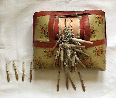 Antique Lace Making Pillow With Bobbins And Attached Pattern. For Use Or Display