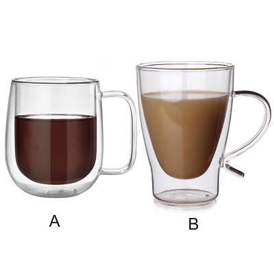 5PCS 300ML Glass Coffee Mug Clear Double Wall Insulated Thermal Tea Cup Drinking