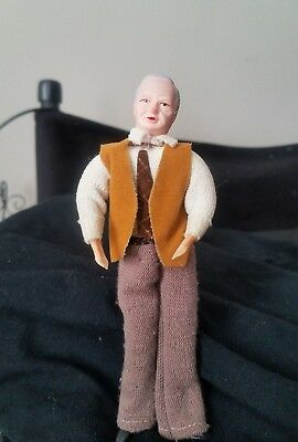 Vintage German Caco Wrapped Legs Dollhouse Doll original clothing DAD FATHER