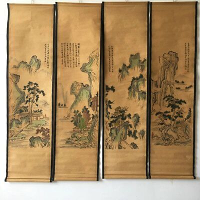 Chinese Old Paper Painting Landscape Four Murals Scroll Painting