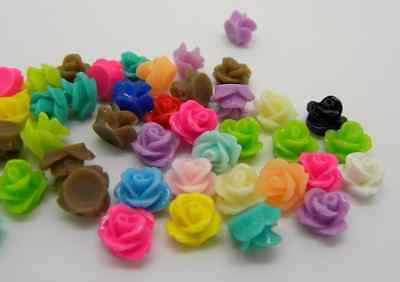 25 PCS Mixed Color  Rose Resin Flowers Cabochon  9 mm  Ships from USA Immediatel