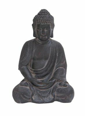 Deco 79 Durable Fiber Clay Buddha Glanced, Antiqued Black Finish FREE2DAYSHIP