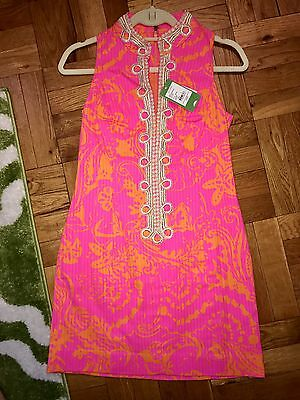e2e1b001330882 Lilly Pulitzer Alexa High Collar Shift Dress Neon Pop Pink Seasesta Size 0  NWT