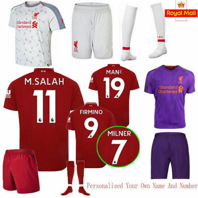 18-19 Red Home Adult children Football Outfits Soccer Short Sleeve Team Suit HOT