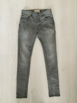 Mens Next Factory Faded Grey Super Skinny Stretch Fit Jeans Size 28 R L31