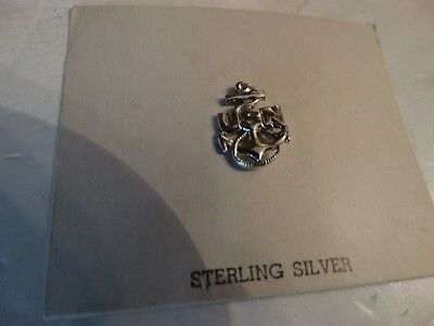 Vintage WW2 WWII U.S.N anchor lapel pin sterling silver